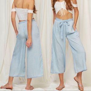 Pants - 100% Tencel Wide Leg Tie Waist Crop Pant, Culotte